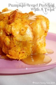 Pumpkin Bread Pudding with Caramel Sauce~