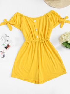 Shop Knot Sleeve Single Breasted Solid Romper at ROMWE, discover more fashion styles online. Cute Comfy Outfits, Cute Summer Outfits, Girly Outfits, Pretty Outfits, Stylish Outfits, Cool Outfits, Girls Fashion Clothes, Kids Outfits Girls, Summer Fashion Outfits