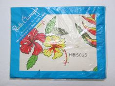 Vintage Tea Towel Kitchen Linens by Ruth Clarage Tropical Hibiscus Fruit MWT