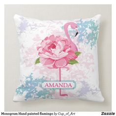 Shop Monogram Hand painted flamingo Throw Pillow created by Cup_of_Art. Colorful Pillows, Custom Pillows, Flamingo, Your Design, Monogram, Hand Painted, Hands, Throw Pillows, Make It Yourself