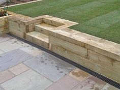 Sleeper walls and sleeper steps Patio Steps, Garden Steps, Patio Ideas With Steps, Backyard Garden Landscape, Garden Landscape Design, Backyard Landscaping, Railroad Ties Landscaping, Landscaping Equipment, Garden Paving