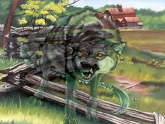 A Cu Sith is a Fairy Dog of the Highlands, dark green with a braided tail. It is said, in legend, that if one spied, or spoke to one of these large dogs (the size of a calf or larger) he was bound to die""
