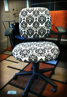 Love this re-upholstered chair!  Would go great in my craft room!
