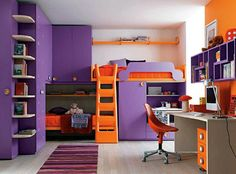 Admirable Teenage Girls Room Design Inspirations : Dazzling White Walls Teenage Girls Room Decorating with Purple Cabinet and Orange Bed