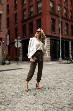 Highlighting my favorite transitional pieces for spring (or even fall) Nyc Fashion, Office Fashion, Fashion Trends, Business Outfits, Office Outfits, Manolo Blahnik, Veronica, Silk Joggers, Shirt Tucked In