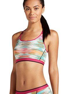 Jockey Women's Bras Sporties Mesh Bralette, red multi stripe, XL