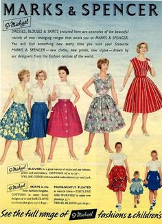 Dresses, skirts and blouses from 1950s