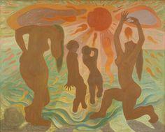 Soltilbedere. Maleri av Elliot Kvalstad