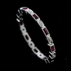 Platinum Art Deco Style Diamond and Ruby Stackable Eternity Ring Band