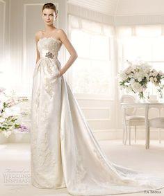 Strapless column gown #GabrielCo
