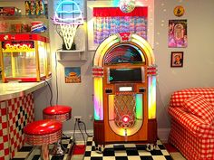 My 1950's Diner with Juke Box. My husband made it.