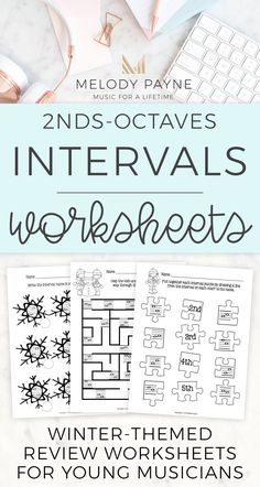 In these eight snowy and wintery printable review worksheets, your music students will match intervals, travel through a puzzle following the given interval, identify intervals, and write intervals. Lots of musical interval review of 2nds, 3rds, 4ths, 5ths, 6ths, 7ths, and octaves featuring a variety of fun activities! Great for the music classroom, piano lessons, sub tub, and more. #pianolessons