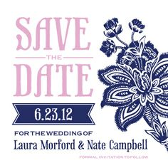Save the Date Card - Batik Floral