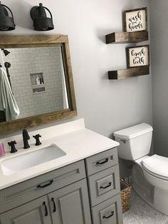 35 Rustic Bathroom Vanity Ideas to Inspire Your Next Renovation - The Trending House Wood Mirror Bathroom, Wood Framed Mirror, Bathroom Renos, Bathroom Storage, Bathroom Ideas, Bathroom Organization, Remodel Bathroom, Bathroom Renovations, Bathroom Inspiration