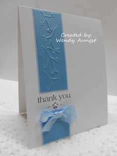 Thank You Card_Scrapbook Cool Cards, Diy Cards, Card Making Inspiration, Making Ideas, Cards Ideas, Cadeau Design, Embossed Cards, Sympathy Cards, Card Tags