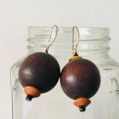 Vintage Dangle wooden Beaded Earrings Vintage Earrings Brown   Etsy Wooden Jewelry, Wooden Beads, Rose Earrings, Dangle Earrings, Pink Fruit, Bead Jewellery, Hippie Jewelry, Beaded Rings, Adjustable Bracelet