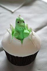 i don't think i will ever have the skill level to master this little dino cupcake...but it sure is cute!