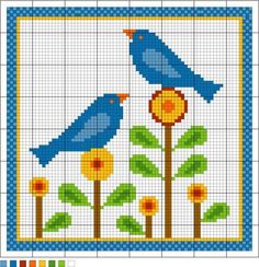 Bluebirds of Happiness needlepoint pattern