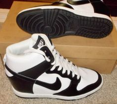 NEW NIKE DUNK SKY HI HIGH Hidden Wedge WOMENS White Black 528899 101 $130 LTD NR