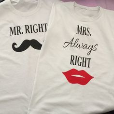 Set of two couples tshirts/ His and hers white by VanilaShopParty