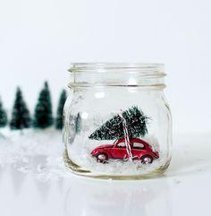 Car in Jar Snow Globe // Christmas decoration