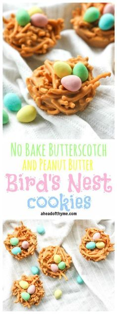 No Bake Butterscotch and Peanut Butter Bird's Nest Cookies: Spring is in the air and Easter is right around the corner. This calls for a batch of adorable no bake butterscotch and peanut butter bird's nest cookies   http://aheadofthyme.com