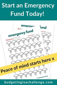 AD: Printable emergency fund savings  tracker.  Events you don't expect can be stressful and cost a lot.  Having an emergency fund can make sure you have money in place an unplanned expense.  This cute rainy day tracker can help you stay motivated while saving to hit your goal. It's a fun way to track your progress. Hang it up on your wall or fridge and watch your savings grow! Grab your printable savings tracker today!  #emergencyfund #emergencyfundtracker #emergencyfundprintable #savemore