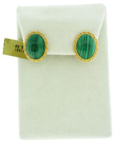 Gold and Malachite Button Earrings