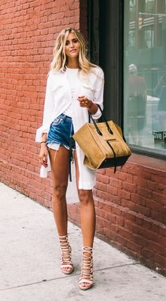 long white button down with cut off jean shorts and laced up heels | Jannie…