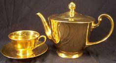 NORITAKE Solid Gold Tone CUP Tea Pot High Gloss Shiny 1896-1926