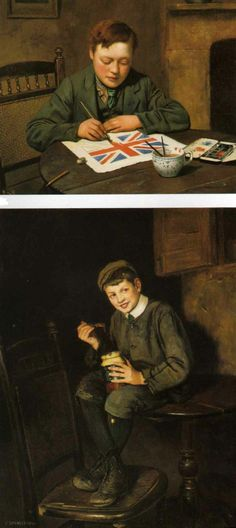 Charles Spencelayh ~ 'True to his Colours', top ~ 'The Jam Pot', bottom