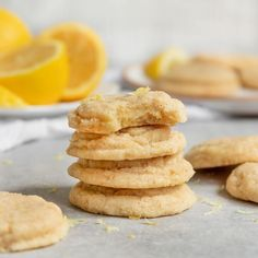 Soft & Chewy Vegan Lemon Sugar Cookies that are made with fresh lemon juice and lemon zest for the best eggless & dairy-free cookie recipe! Vegan Junk Food, Vegan Foods, Vegan Dishes, Healthy Foods, Lemon Dessert Recipes, Sweets Recipes, Baking Recipes, Cookie Recipes, Lemon Sugar Cookies