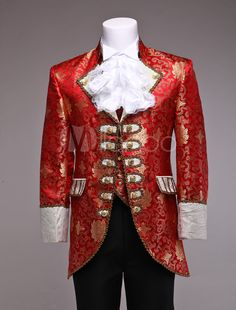 Retro Prince Costume Men's Red Jacquard European Vintage Royal Costume Outfit Halloween