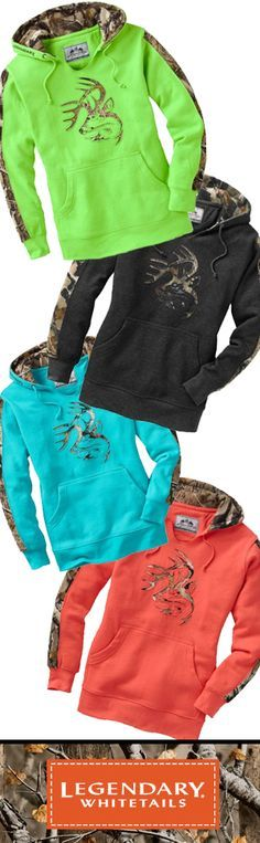We took our most popular men's hoodie and made one just for you. Heavyweight high cotton blend hoodie in new colors and feminine cut with Big Game® Camo accents. Features a soft V-Neck opening for easy on-off and extra wearing comfort.