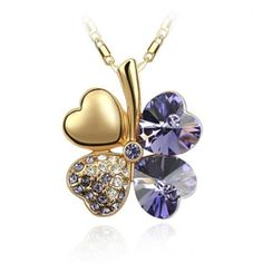 Blue Chip Unlimited - Deep Purple Crystal Rose Gold Drop Clover Pendant with RGP Chain Elegant Gem Fashion Jewelry Necklace Necklaces - cool gifts Purple Necklace, Rhinestone Necklace, Crystal Necklace, Crystal Rhinestone, Crystal Rose, Purple Gold, Deep Purple, Rose Gold, Blue