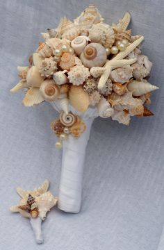 Starfish and Seashell Bouquet/Boutonierre by SlyCreationsBouquets