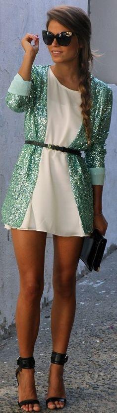 Sequin + jacket.