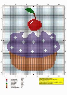 to recreate on canvas! Cupcake Cross Stitch, Butterfly Cross Stitch, Cross Stitch Tree, Cross Stitch Charts, Cross Stitch Patterns, Needlepoint Patterns, Perler Patterns, Cross Stitch Gallery, Stitch Cartoon