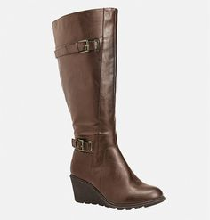 Elevate your style in a wide width boot like the Tia Buckled Wedge Boot in sizes… Stretch Knee High Boots, Knee High Wedge Boots, Wedge Heel Boots, How To Stretch Boots, Brown Wedge Boots, Brown Knee High Boots, Faux Fur Boots, Tall Boots, Wide Width Shoes