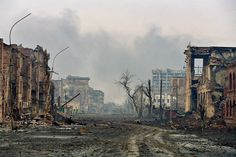 This is how a politician gains popular support in Russia: Chechnya, Grozny, Mira street (Peace street) after 22 weeks of heavy bombardment, February 4 2000. Photo: Dmitry Beliakov