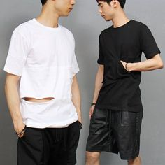 Avant garde Cut Open Side Pocket Short Sleeve T Shirt