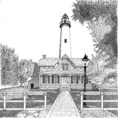 Simons Lighthouse Print By Tim Murray In memory of my Aunt Kathy Lighthouse Sketch, Lighthouse Art, Thomas Saliot, Architecture Drawing Plan, Drawing Tutorials For Beginners, St Simons Island, Thing 1, Perspective Drawing, Art Images