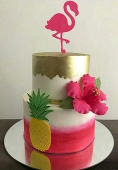 More decorating ideas on albums: Flamingo Party 1 Flamingo Party 2 Pink Flamingo Party, Flamingo Cake, Flamingo Birthday, Luau Birthday, Luau Cakes, Party Cakes, Cakes Without Fondant, Tropical Party Decorations, Luau Party