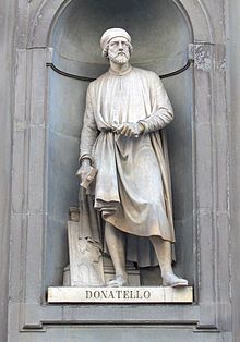 Donatello, Painter and sculptor (1386-1466) Italian.  Donatello was a Renaissance artist born in Florence, Italy. He was famous for his artwork in bas relief, a type of shadow relief sculpture.