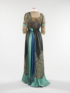 Dress, Evening Weeks (French) Date: 1910 Culture: French Medium: silk, metal Dimensions: Length at CB: 63 in. (160 cm) Credit Line: Brooklyn Museum Costume Collection at The Metropolitan Museum of Art, Gift of the Brooklyn Museum, 2009; Gift of Dr. Ruth M. Bakwin, 1961 Accession Number: 2009.300.293