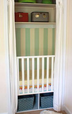 It's a crib in a closet.