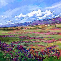 Just Landscape Animal Floral Garden Still Life Paintings by Louisiana Artist Karen Mathison Schmidt: Mountain Lavender fauve post-impressionist contemporary oil painting • Colorado mountain ranch landscape • wild lavender and wildflowers art illustration
