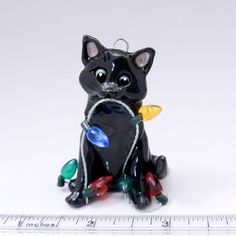 Black Cat Christmas Ornament Figurine Lights by TheMagicSleigh Polymer Clay Cat, Polymer Clay Animals, Cat Christmas Ornaments, Christmas Cats, Pet Dogs, Dog Cat, Clay Cats, Hand Sculpture, The Originals