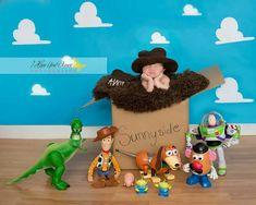 Toy story theme Newborn photography www.ihopeyoudancephotography.com Photography Themes, Toddler Photography, Newborn Baby Photography, Baby Boy Pictures, Newborn Pictures, Baby Photos, Newborn Toys, Newborn Shoot, 2 Month Baby