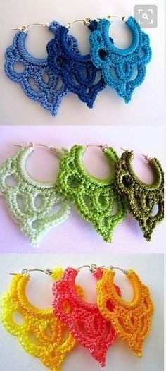 Crochet Earrings- gorgeous, must try! Use embroidery floss to get a lovely array of colours and shades Crochet Earrings- gorgeous, must try! Use embroidery floss to get a lovely array of colours and shades Crochet Pattern Free, Crochet Diy, Love Crochet, Crochet Crafts, Yarn Crafts, Crochet Projects, Crochet Patterns, Crochet Summer, Thread Crochet